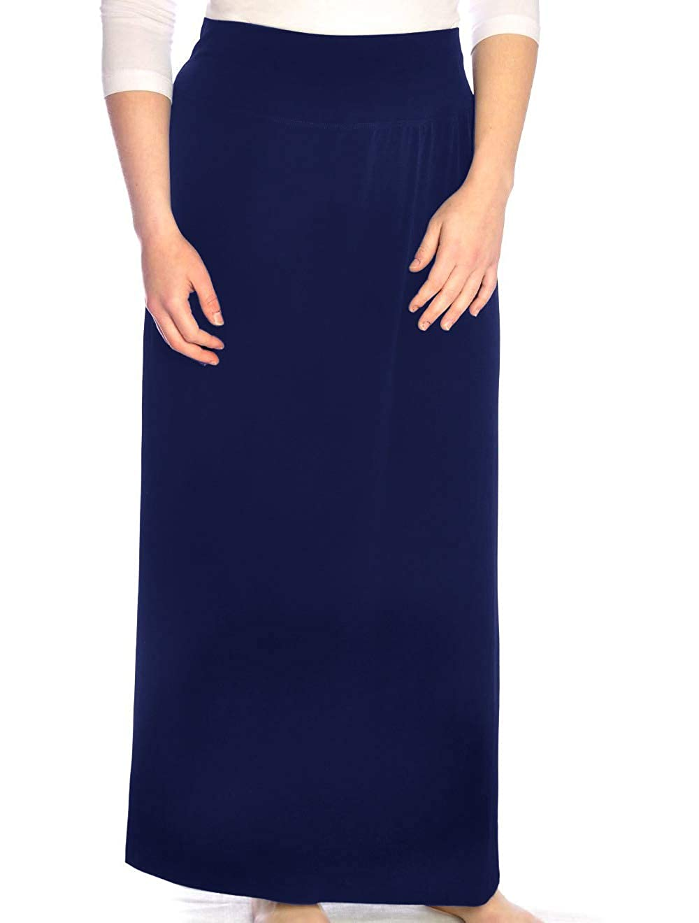3ad83855ae Classic straight maxi skirt. Silky fabric looks great for dressing up and  works well for travel. Smooth elastic waistband, versatile slinky fabric.