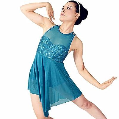 MiDee Illusion Sweetheart Sequines Tank Top Trianglar Cut Skirt Lyrical Dress Dance Costume