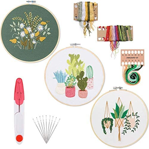 Liyahog 3 Pack Embroidery Starter Kit for Adults Full Range of Stamped Embroidery Kits3 Pcs Embroidery ClothPattern1 Pc Bamboo Embroidery Hoop Color Threads Tools Kit