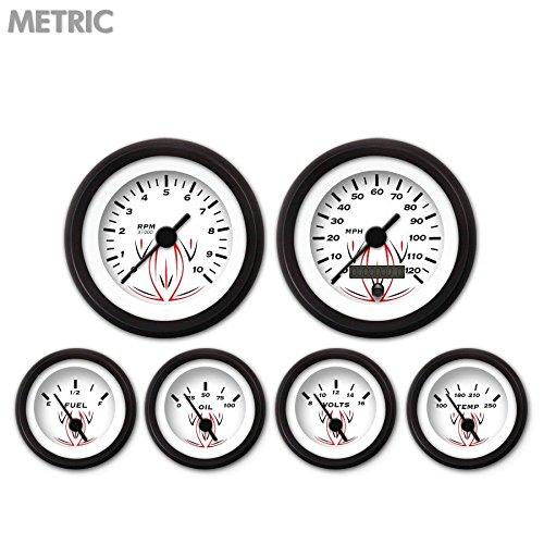Black Vintage Needles, Black Trim Rings, Style Kit DIY Install Aurora Instruments 6613 Pinstripe White Metric 6-Gauge Set