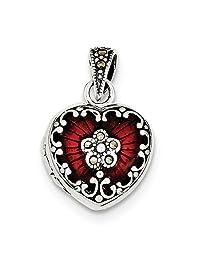 IceCarats® Designer Jewelry Sterling Silver Red Enamel Marcasite Heart Locket