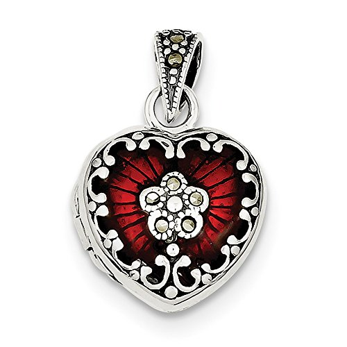 Marcasite Heart Locket Pendant - 925 Sterling Silver Red Enamel and Marcasite Heart Locket Pendant