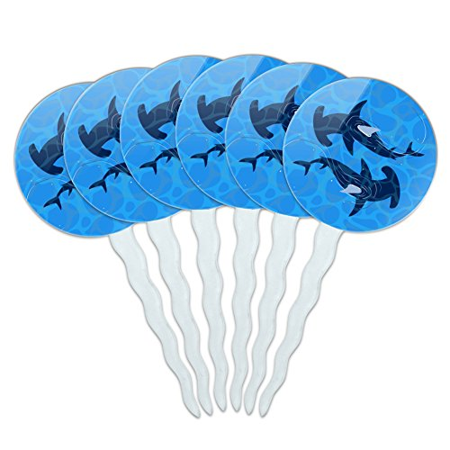 Hammerhead-Sharks-Swimming-in-the-Ocean-Cupcake-Picks-Toppers-Decoration-Set-of-6