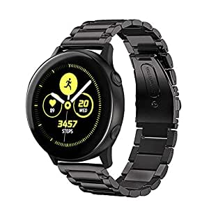 Kartice Compatible with Galaxy Watch Active 40mm Bands Active2 44mm Band 20mm Solid Stainless Steel Strap for Galaxy Watch Active 2 SM-R500 (Black)