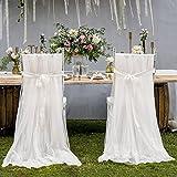 #2: Leegleri 2pcs Fluffy Tutu Tulle Chair Skirt White Chair Cover Long Tulle High Chair Skirt Slipcovers For Bridal Shower, Home &Party,Wedding Decoration (103 × 63 inch)