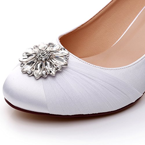 Luxveer Satin Scarpe Da Donna Scarpe Da Sposa Con Strass Scarpe Da Sposa Scarpe Da Sposa In Pizzo - Tacchi Da 2 Pollici Bianco
