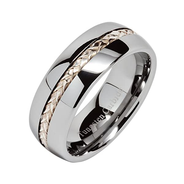100S JEWELRY 8mm Men's Tungsten Carbide Ring Silver Rope Inlay Wedding Band Size 8-15 Comfort Fit - 51h20fo7xiL - 100S JEWELRY 8mm Men's Tungsten Carbide Ring Silver Rope Inlay Wedding Band Size 8-15 Comfort Fit