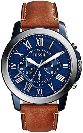 Fossil Men s Grant Stainless Steel and Leather Chronograph Quartz Watch