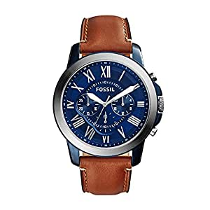 Fossil Grant Men's Blue Dial Brown Leather Watch - FS5151