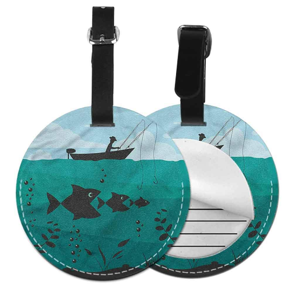 Cute Luggage Tag Fishing,Hunting Sea Animals Theme Round Leather Luggage