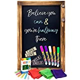 Shefio Large Framed Chalkboard Sign - Wall Hanging Magnetic Blackboard with Rustic Handmade 'Burnt' Wood Frame. For Home or Business. 20x30 Inches - Lots of Free Bonus Accessories