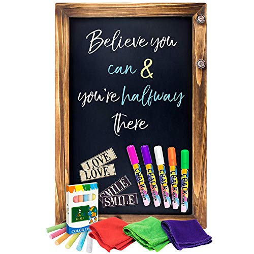 Shefio Large Framed Chalkboard Sign - Wall Hanging Magnetic Blackboard with Rustic Handmade