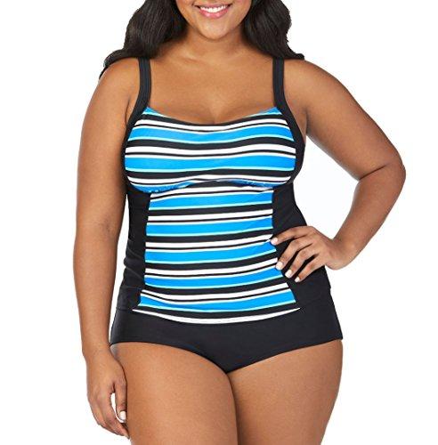 4544a91361c6d St. John's Bay Pacific Stripe Peasant Tankini Swimsuit Top-Plus Size 24W