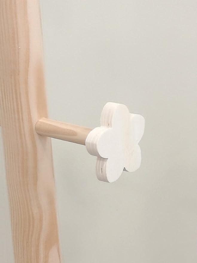 Percha árbol Flor. Perchero infantil. En pino y chopo crudo, para pintar. Medidas: Diámetro de base: 30 cms. Alto: 122 cms.