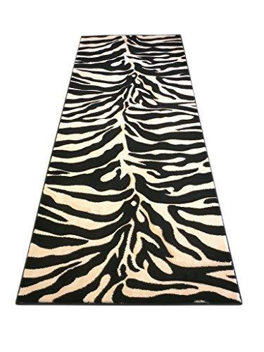- Animal Skin Runner Rug Zebra Black Area Rug Sculpture#245 (31in.X7ft.)