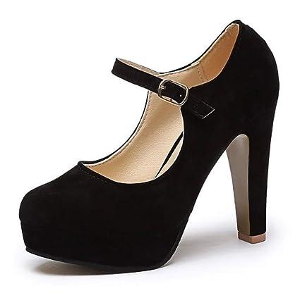 deda8316e8d0 ZLIANG Office Ladies Round Toe High Heels Shoes Women s Ankle Strap  Stiletto High Heels Platform Pump
