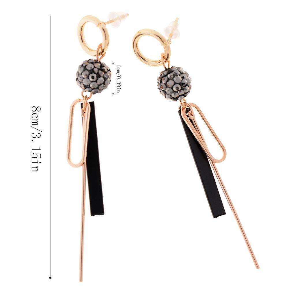 Babasee 1 Pair Fashion Shiny Ball Geometric Stud Earrings Long Drop Dangle Earrings