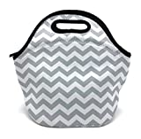 Wanty New Fashion Neoprene Insulated Waterproof Lunch Tote Bag Lunch Box Travel School Lunch Bags Grocery Bags Picnic Bags with Zipper and Handle Strap and Water Bottle Holder (Gray)