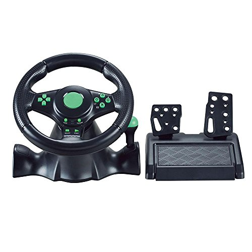 - Gaming Steering Wheel with Responsive Pedals-Teepao 180 Degree Rotation Sport Racing Wheel Compatible to XBOX360/PS3/PS2/PC