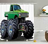 Cars Decor Shower Curtain Set By Ambesonne, Giant Monster Pickup Truck With Large Size Tires And Suspension Extreme Biggest Wheel Print, Bathroom Accessories, 69W X 70L Inches, Green Grey