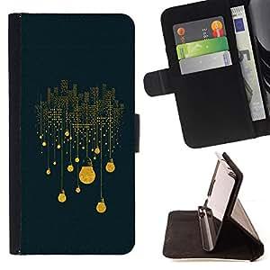 BullDog Case - FOR/Apple Iphone 6 PLUS 5.5 / - / city lights light bulb electricity night big /- Monedero de cuero de la PU Llevar cubierta de la caja con el ID Credit Card Slots Flip funda de cuer
