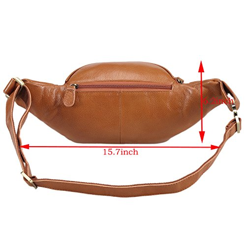 Polare Men's Natural Leather Fanny Pack Waist Bag Brown Large by Polare (Image #3)