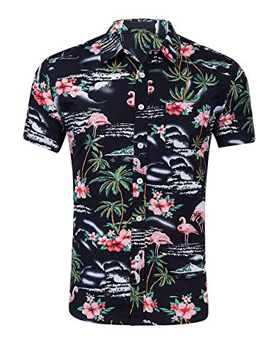 CATERTO Men's Hawaiian Shirt Aloha Beach Shirt Short Sleeve Casual Shirts Black XL