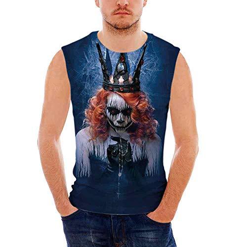 Queen Custom Graphic Tank Tops,Queen of Death Scary Body Art Halloween Evil Face]()