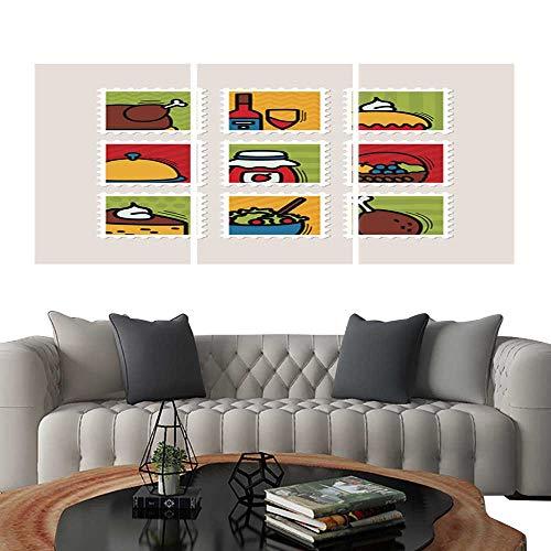 UHOO Triptych Art SetThanksgiving Day Stamp Set Harvest6. Modern Wall Art for Living Room Decoration 12
