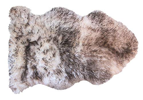 Natural Luxury Soft Premium Quality Durable Thick & Lush New Zealand Sheepskin Wool Fur Area Rug, 2 ft x 3 ft, Gradient Chocolate (Wool Quality Rugs)
