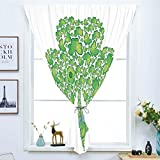 Blackout Curtain Free Punching Magic Stickers Window Curtain,Celtic,Irish Shamrock Figure Made with Small Clover Patterns Holy Trinity Symbol Graphic,Green White,for Living Room Bedroom, study, kitche