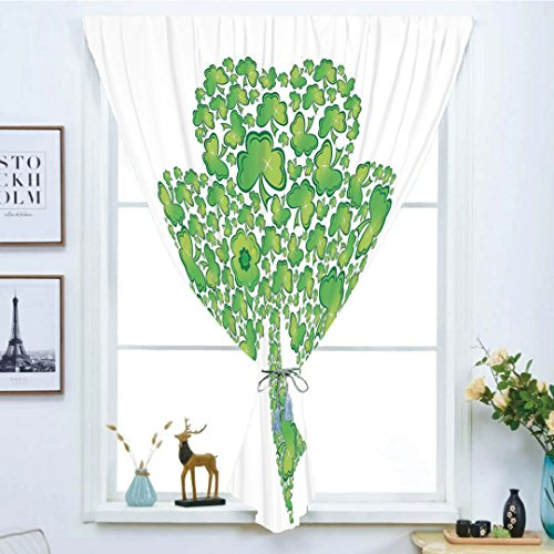 Blackout Curtain Free Punching Magic Stickers Window Curtain,Celtic,Irish Shamrock Figure Made with Small Clover Patterns Holy Trinity Symbol Graphic,Green White,for Living Room Bedroom, study, kitche by iPrint