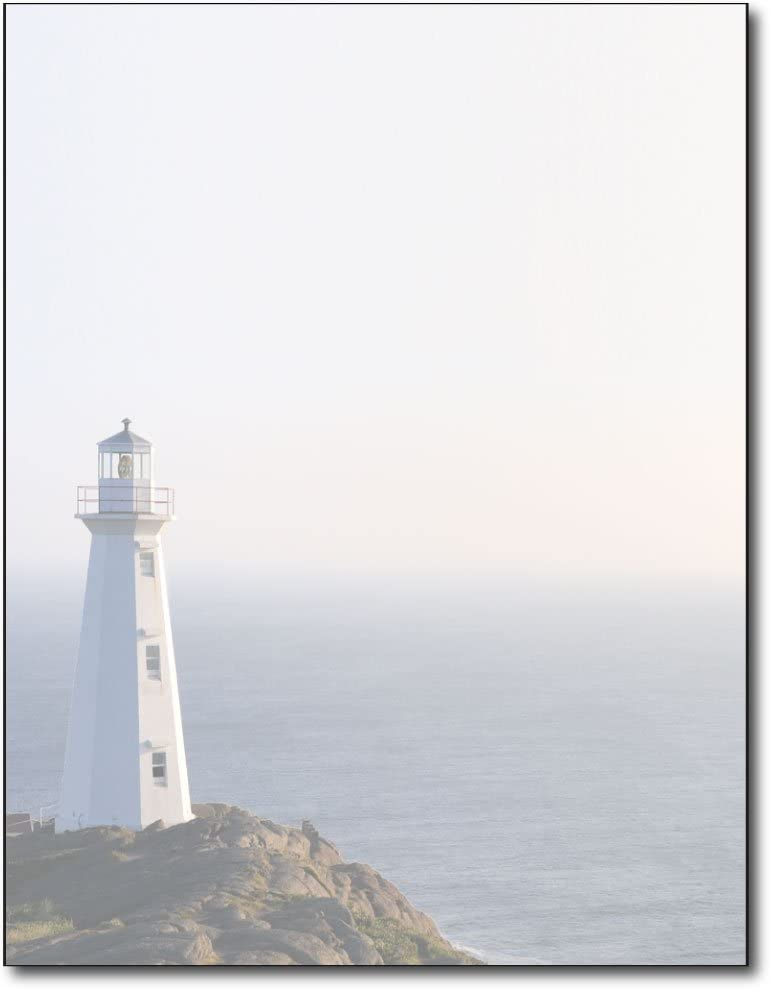Lighthouse Stationery Paper - 80 Sheets - Peaceful Scenic Letterhead for Messages, Flyers, or Invitations
