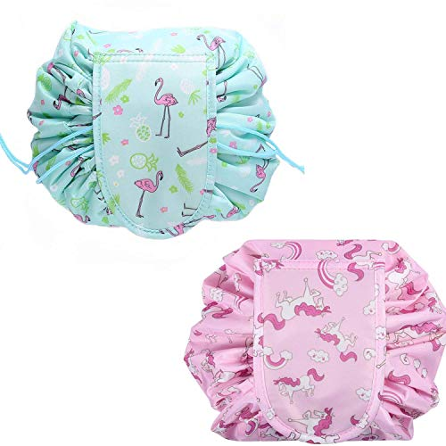 2 Pack Large Capacity Lazy Drawstring Make up Bag Portable Travel Cosmetic Bag Pouch Unicorn and Flamingo Travel Pouch Storage for Women Girl (Pink and Green)