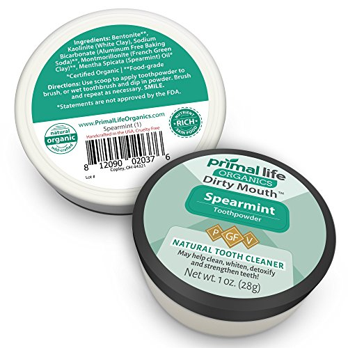 Dirty Mouth Organic Toothpowder #1 BEST RATED All Natural Dental Tooth Powder Cleanser- Gently Polishes, Detoxifies, Re-Mineralizes, Strengthens Teeth -Spearmint (1oz=3mo Supply) -Primal Life Organics by Primal Life Organics (Image #2)