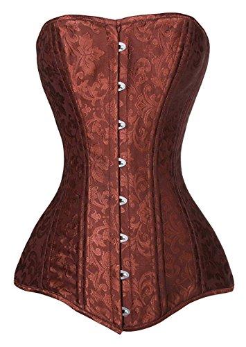 (Charmian Women's 26 Steel Boned Brocade Long Torso Hourglass Body Shaper Corset Brown XXXX-Large)