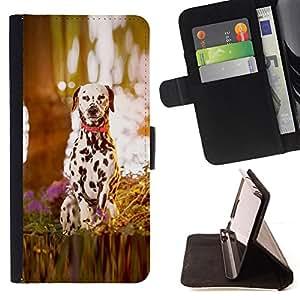 BullDog Case - FOR/LG Nexus 5 D820 D821 / - / dalmatian puppy dog wood /- Monedero de cuero de la PU Llevar cubierta de la caja con el ID Credit Card Slots Flip funda de cuer