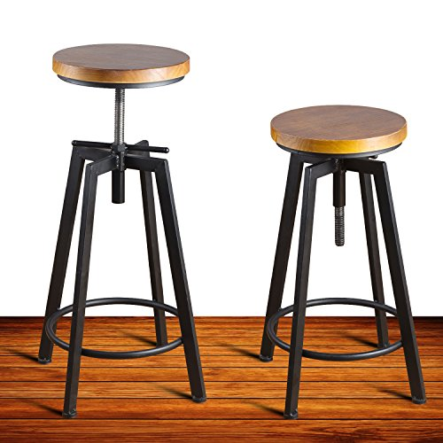 Round Wood Seat Bar/Counter Height Adjustable Swivel Metal Bar Stool/Chair for Bistro Pub Breakfast Kitchen Coffee, Set of 2, Black (Stools Breakfast Black Bar)