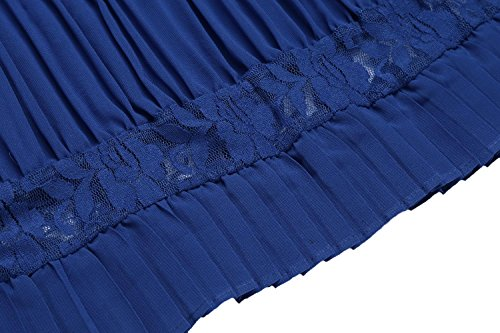 Corta Blu In Casuale Vestito Delle Rigonfiamenti Merletto Manica Pieghe Rappezzatura A Tunica Spiaggia Di Del Donne Festa AgaqqwyI
