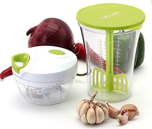 Manual Food Chopper Hand-Powered Food Chopper Compact Handheld Onion Chopper, Garlic Squeezer, Ginger Slicer, Pepper Cut, Herbs Chop, Cheeses Chopper Masher (Chopper set)