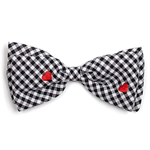 The Worthy Dog Black and White Gingham Check with Embroidered Red Hearts Pattern Designer Bow Tie for Pet Dog Cat Small 21958-4273SM