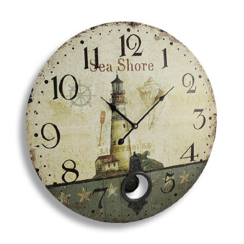 Things2die4 Wood Wall Clocks C-163 Antique Finish Seashore Lighthouse Wall Clock With Pendulum 23 In. 23 X 23 X 3 Inches Off-White
