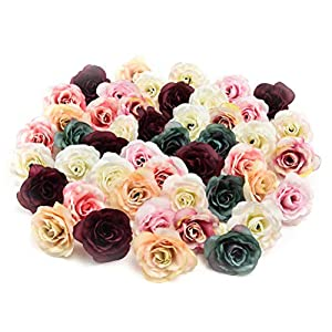 Fake flower heads in bulk Wholesale for Crafts Peony Flower Head Silk Artificial Flower Wedding Decoration DIY Party Birthday Home Decor Garland Craft Flower 30pcs/lot 4.5cm (Colorful) 7