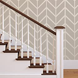 J BOUTIQUE STENCILS Wall Large Herringbone Shuffle Allover Modern Wall Stencil for Easy Stenciled DIY Decor