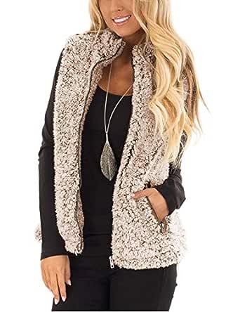 MEROKEETY Women's Casual Sherpa Fleece Lightweight Fall Warm Zipper Vest with Pockets Brown