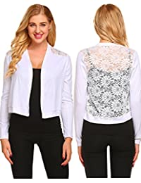 Women's Open Front Cropped Bolero Floral Lace Shrug Long Sleeve Cardigan Top