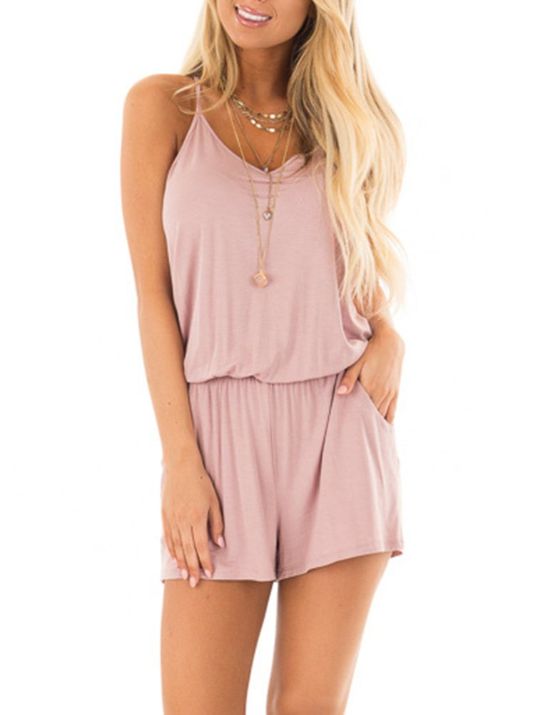 REORIA Womens Casual Summer One Piece Sleeveless Spaghetti Strap Playsuits Short Jumpsuit Beach Rompers Light Pink Medium