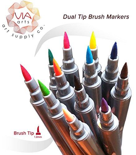 Via Art Dual Tip Brush Pens- By 12 - Brush Tip and Fine Tip Design/Manga Pens by Via Art