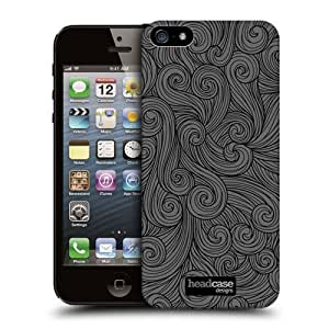 Head Case Designs Dark Grey Vivid Swirls Protective Snap-on Hard Back Case Cover for Apple iPhone 5 5s by ruishername