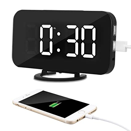 Kidsidol 2 en 1 Despertadore Electrónico creativo reloj de alarma digital LED dimmer diseño Smart Power Bank Brillo ajustable para Home Office ...